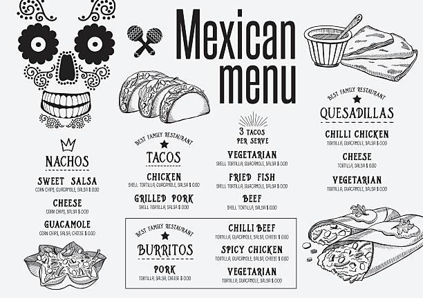menu mexican restaurant, template placemat. - メキシコ料理点のイラスト素材/クリップアート素材/マンガ素材/アイコン素材