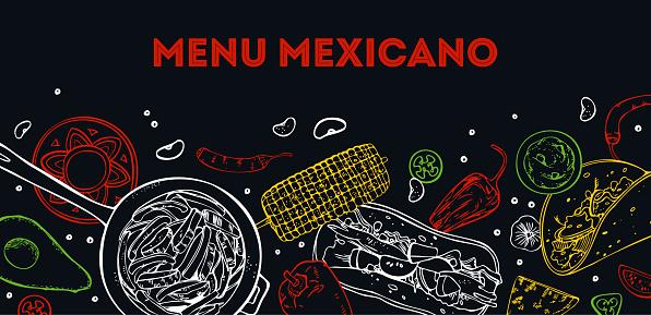 Menu Mexicano cover design template. Traditional dishes and vegetables. Burrito, fajitas, taco. Hand drawn vector sketch illustration