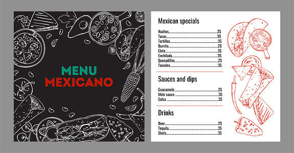 Menu mexicano design template. List of dishes and drinks, cover page with stylized outline graphic. Hand drawn vector sketch illustration