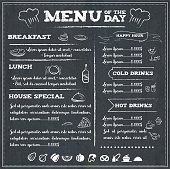 Illustration of a menu of the day in black and white to be edited