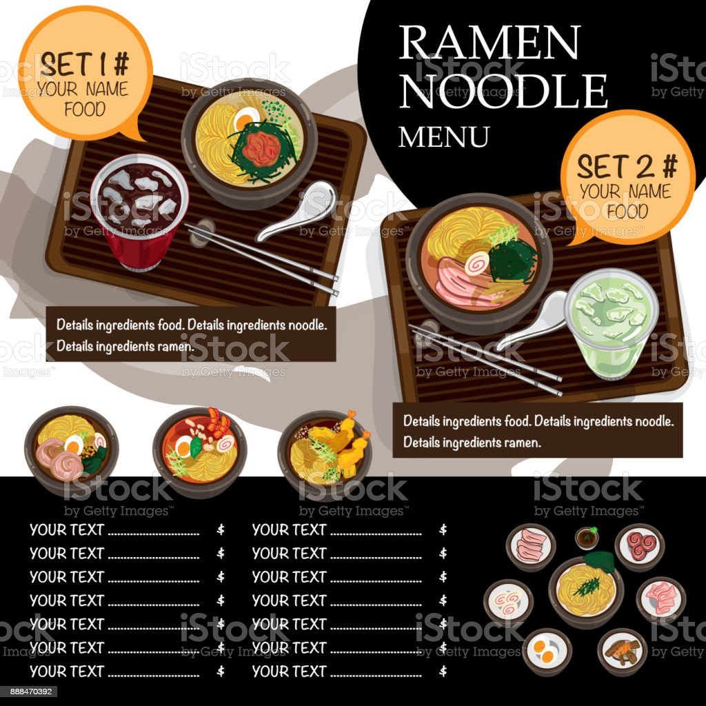 Menu Ramen Noodle Japanese Food Template Design Stock