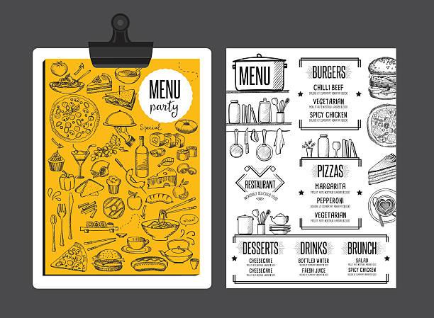 menu restaurant, food template placemat. - ランチョンマット点のイラスト素材/クリップアート素材/マンガ素材/アイコン素材