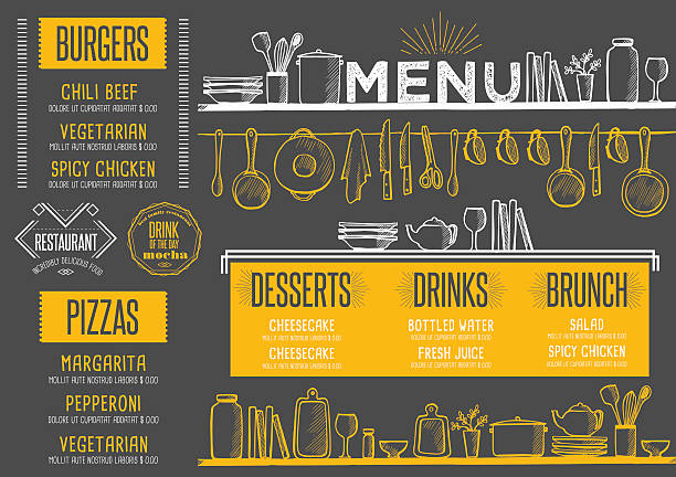 Menu restaurant, food template placemat. Restaurant menu placemat food brochure, cafe template design. Vintage creative dinner flyer with hand-drawn graphic. cooking drawings stock illustrations