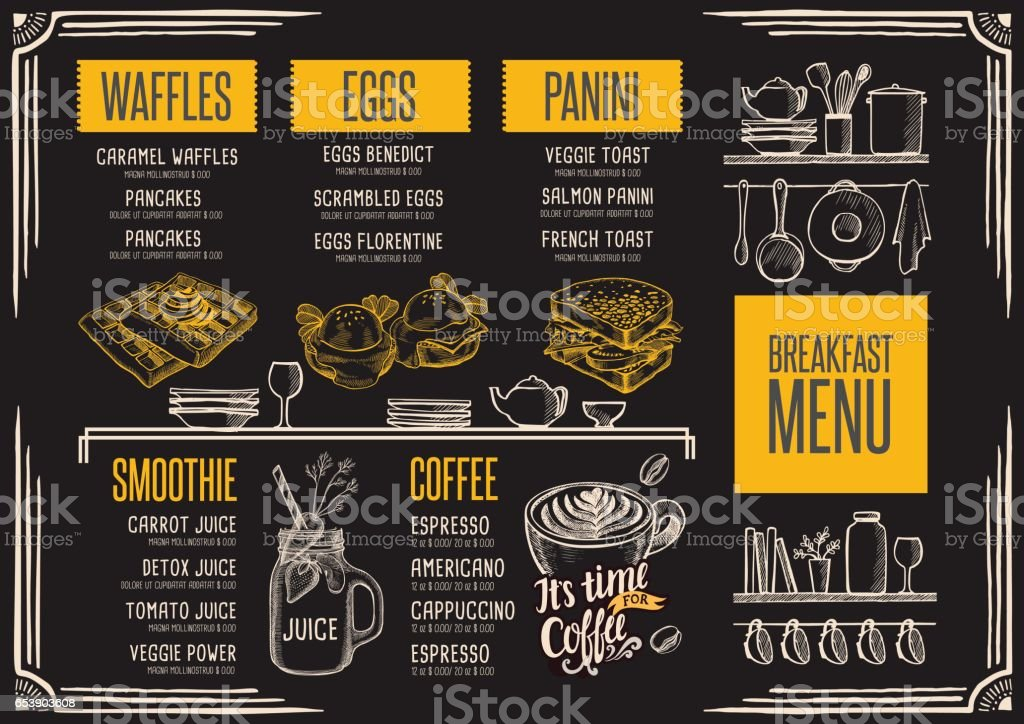 Menu restaurant, food template. vector art illustration