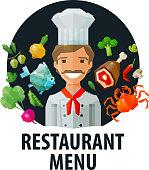 menu, restaurant vector logo design template. chef, food or cooking