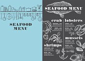 Seafood menu placemat food restaurant brochure, template design. Vintage creative dinner flyer with hand-drawn graphic.
