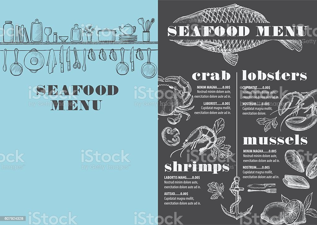 Menu seafood restaurant, food template placemat. vector art illustration