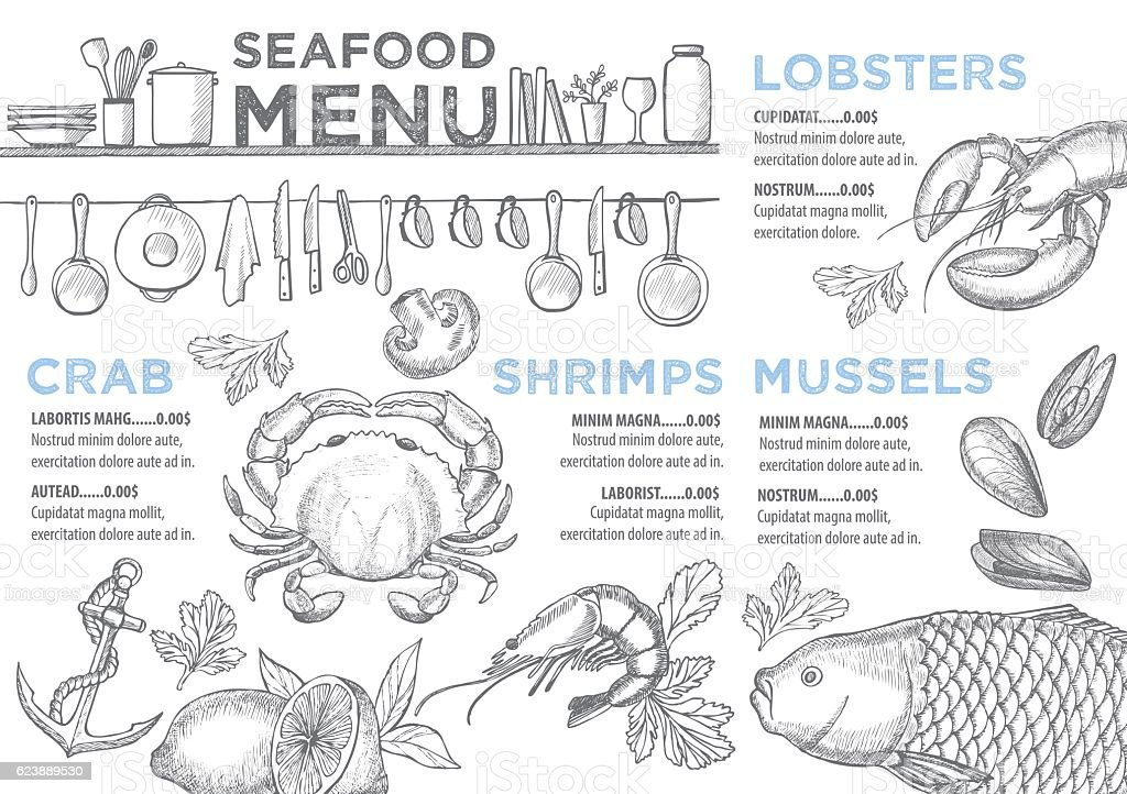 Menu seafood restaurant, food template placemat. vector art illustration