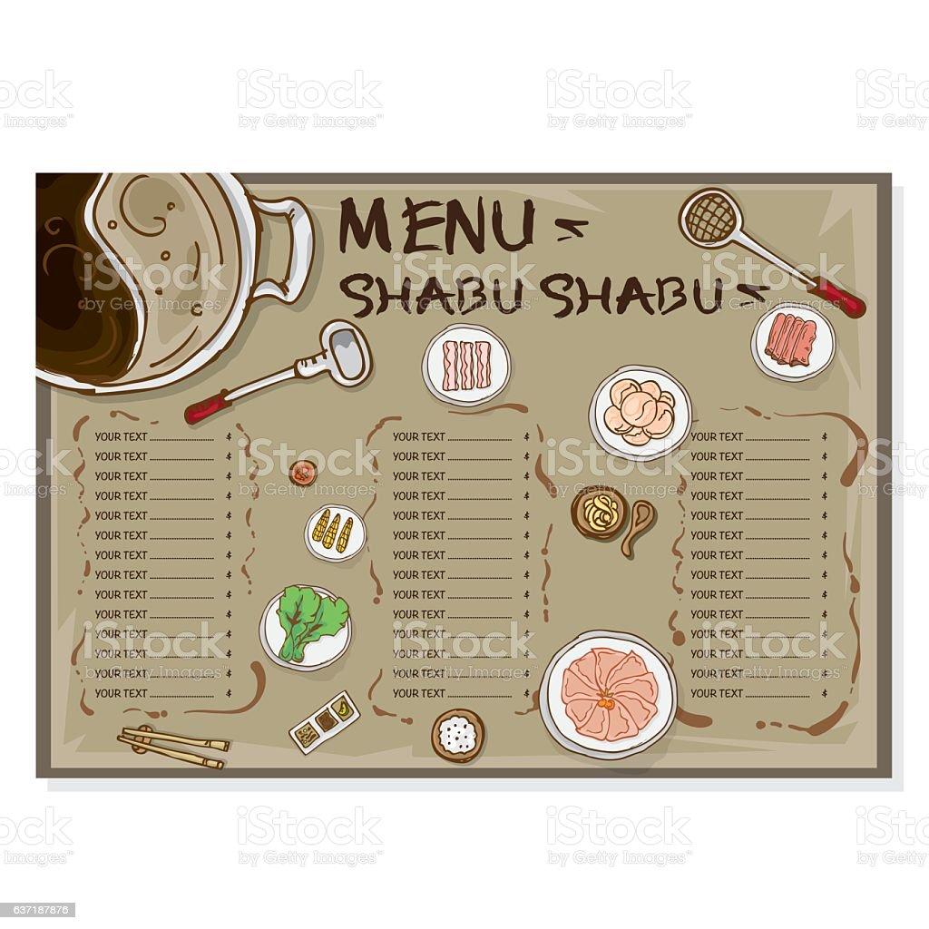 menu shabu drawing template のイラスト素材 637187876 istock