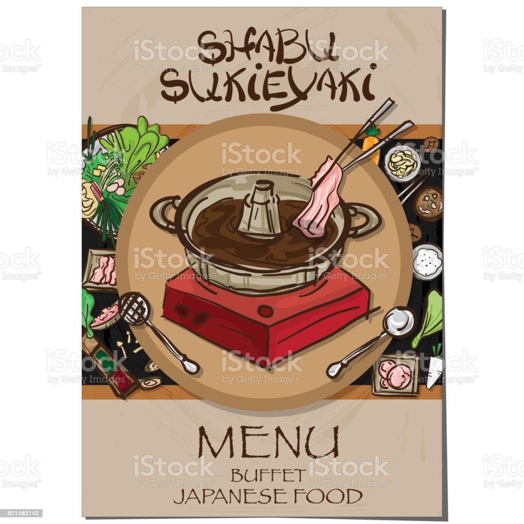 Ilustración de Menú Sukiyaki Shabu Comida Japonesa Restaurante ...