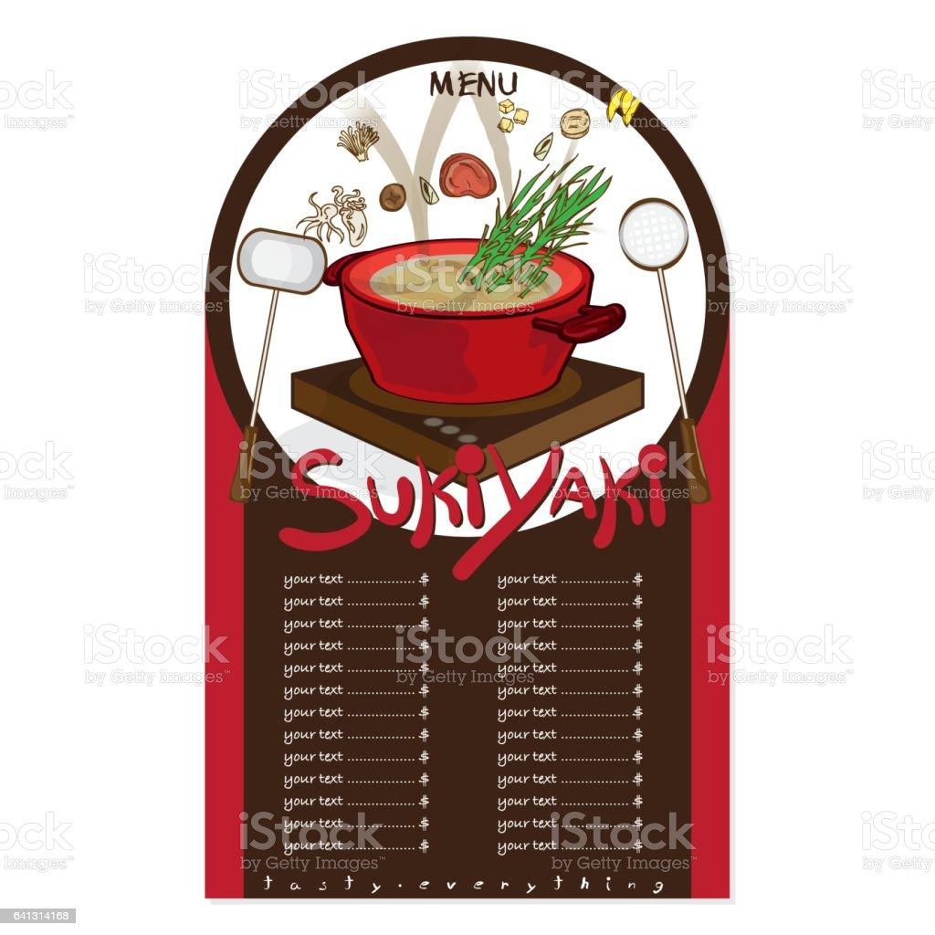 menu sukiyaki vector art illustration