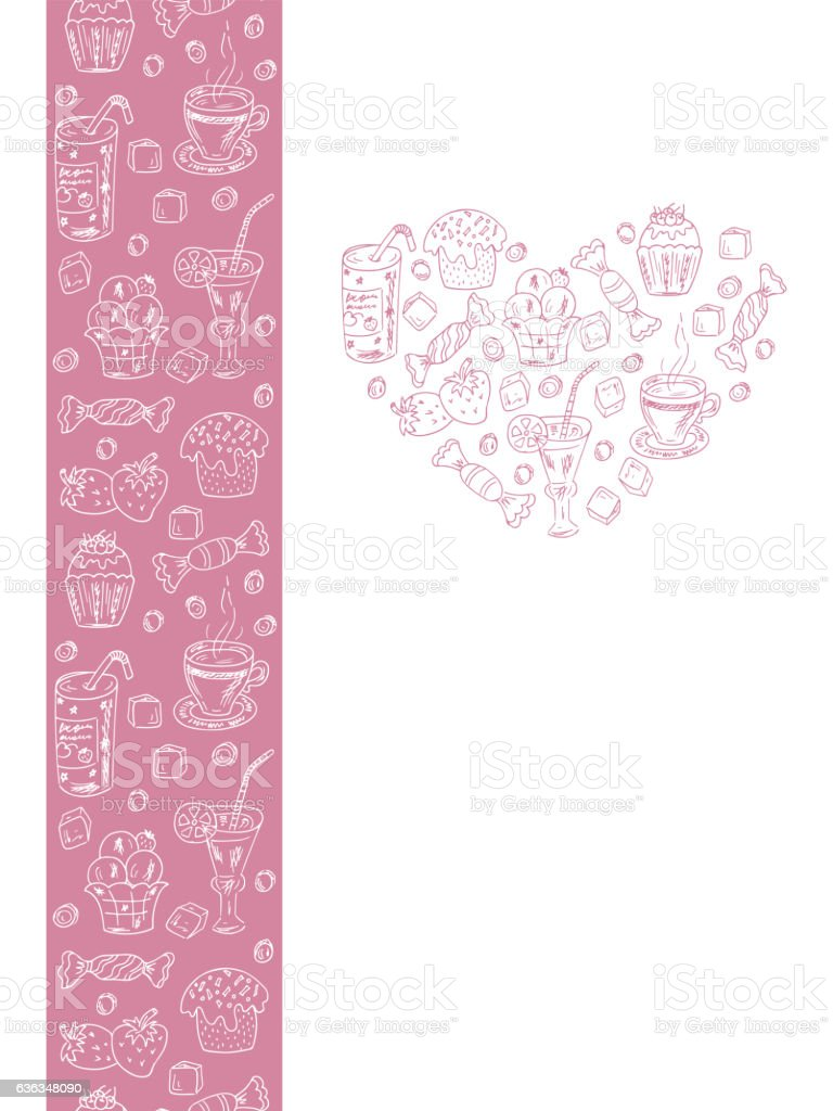 menu template desserts elements in heart shape and seamless border