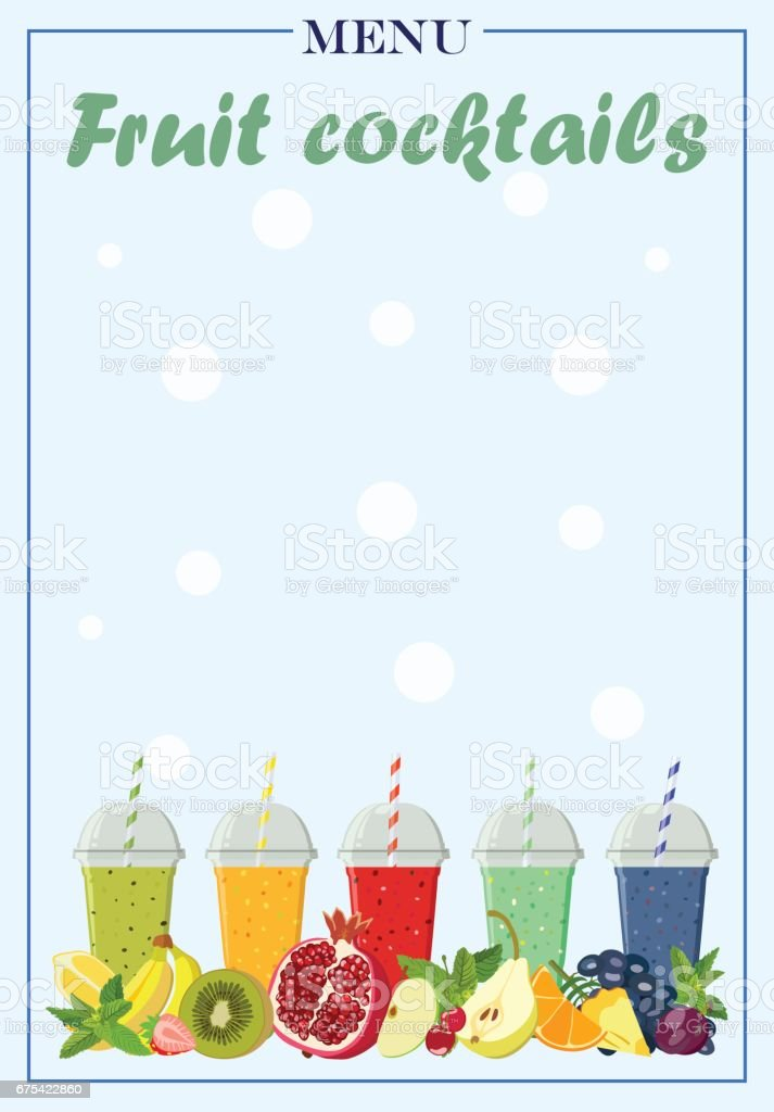 Modèle de menu pour les cocktails de fruits. Illustration vectorielle. modèle de menu pour les cocktails de fruits illustration vectorielle – cliparts vectoriels et plus d'images de agrume libre de droits