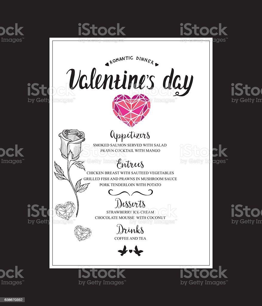 Dinner Menu Template | Menu Template Valentine Day Dinner Vektor Illustration 638670352