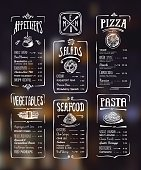 Menu template. White drawing on dark background. Appetizers, vegetables,salads, seafood, pizza, pasta.