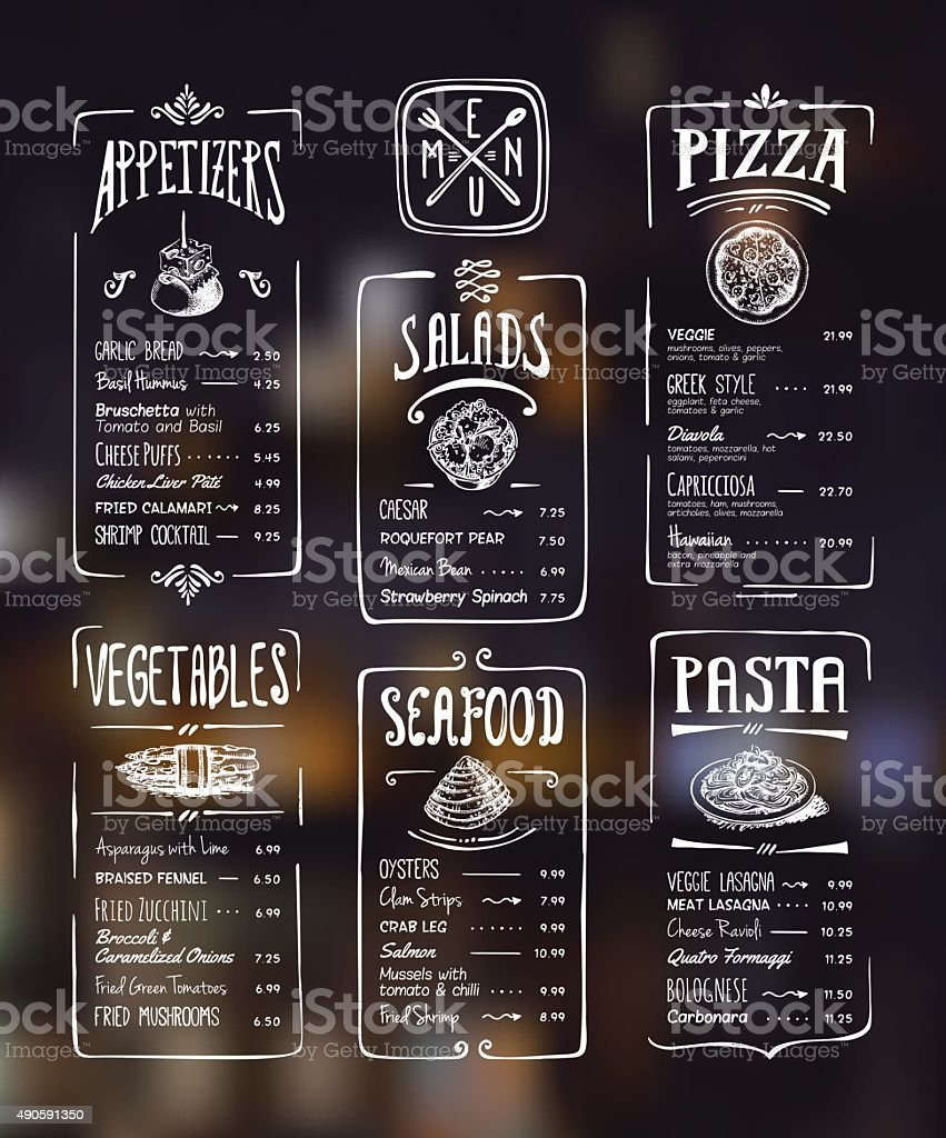 Menu template. White drawing on dark background vector art illustration