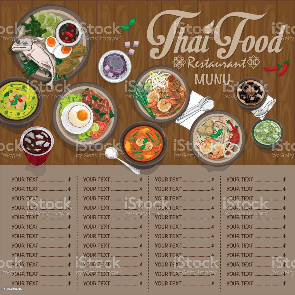 Menü Thailändisches Essen Design Vorlage Grafik Stock Vektor Art und ...