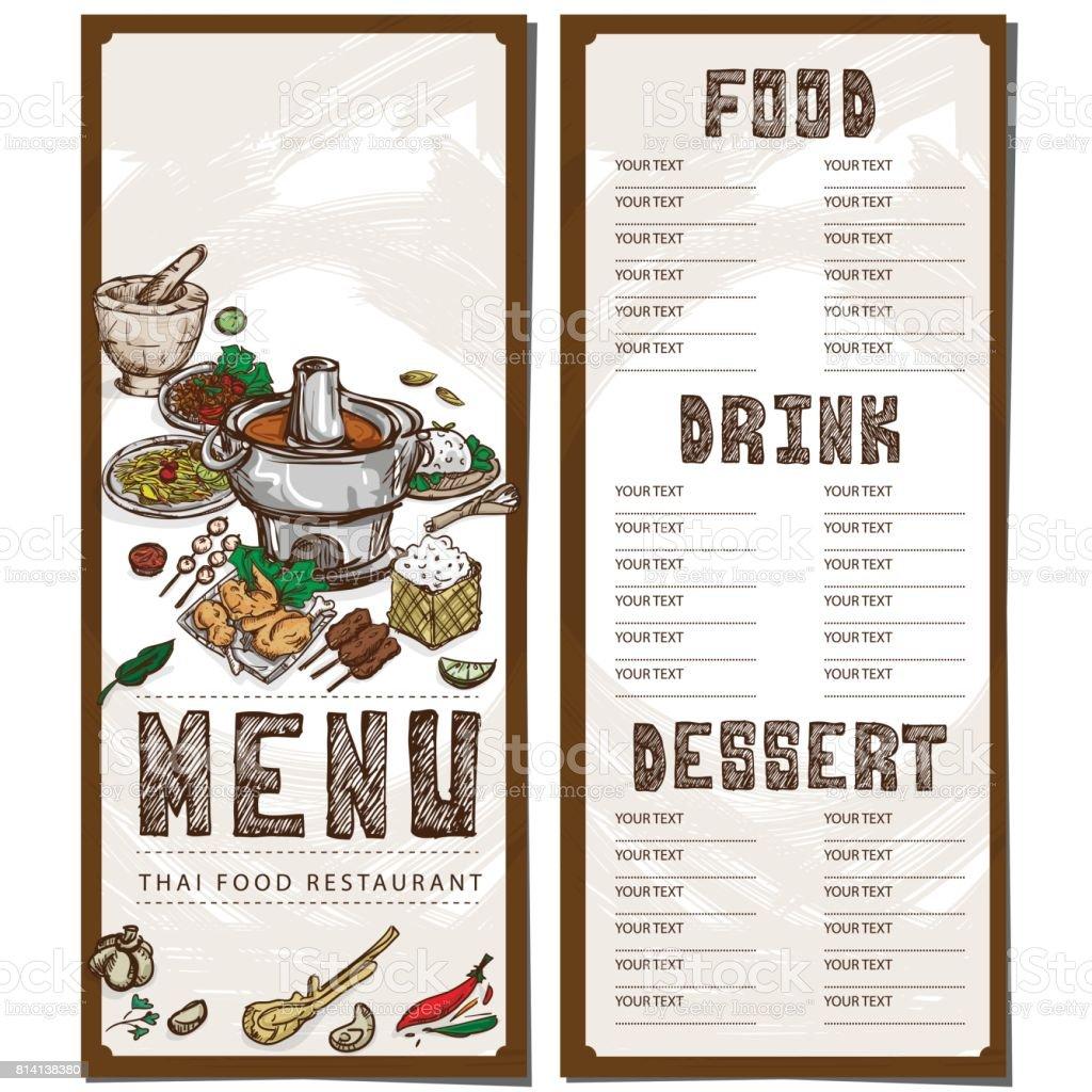 Menú Comida Thai Restaurante Plantilla Diseño Mano Dibujo Gráfico ...
