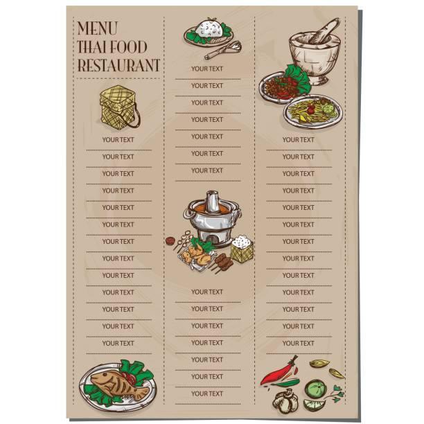menü thailändisches essen restaurant vorlage design handzeichnung grafik. - schweinebraten stock-grafiken, -clipart, -cartoons und -symbole