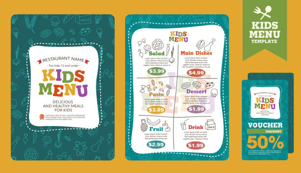 menu - kids stock illustrations, clip art, cartoons, & icons