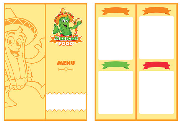 Menu Template menu of Mexican restaurant, has a logo with a character mexican restaurant stock illustrations