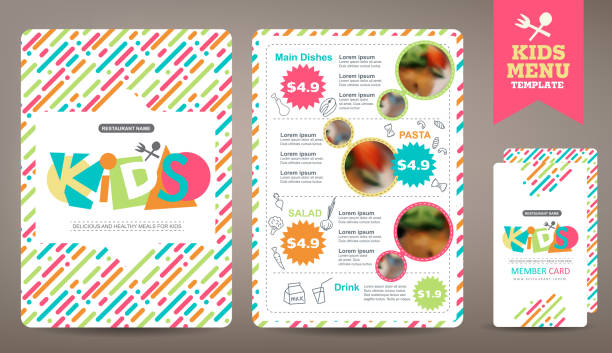 menu Cute colorful kids meal menu vector template geographical border stock illustrations