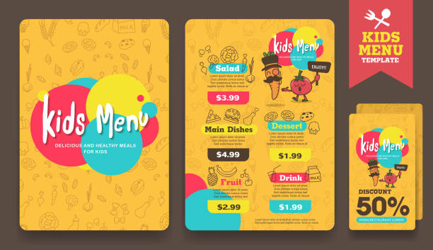 menu Cute colorful kids meal menu vector template cooking patterns stock illustrations