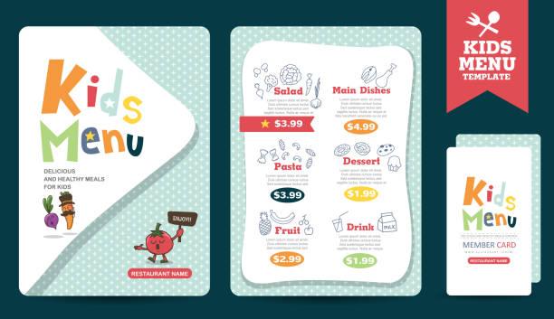 menu Cute colorful kids meal menu vector template cooking borders stock illustrations