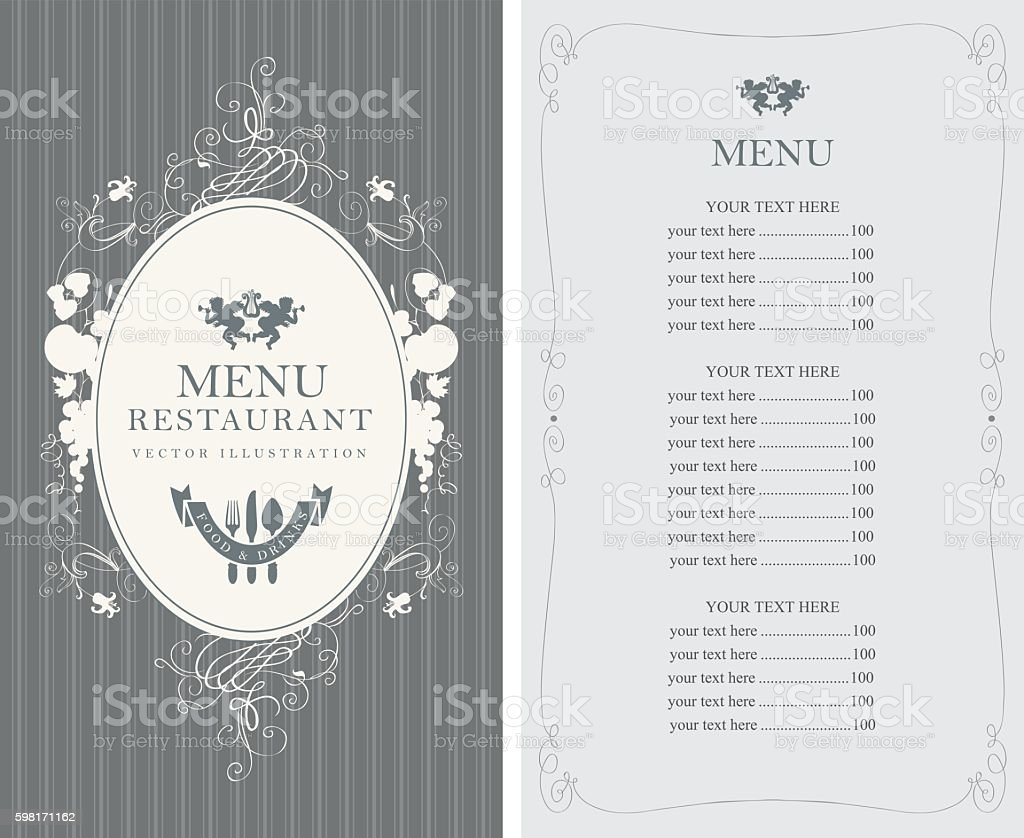 menu with floral ornaments in style baroque vector art illustration