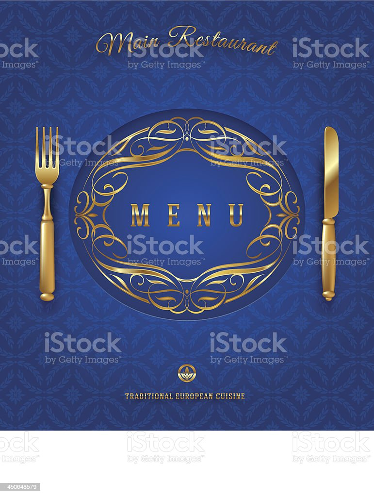 Menu with golden cutlery and ornate elements - vector illustration royalty-free menu with golden cutlery and ornate elements vector illustration stock vector art & more images of art
