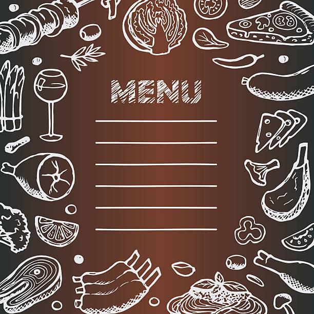 menü mit zeichnung doodle elemente - salatbar stock-grafiken, -clipart, -cartoons und -symbole