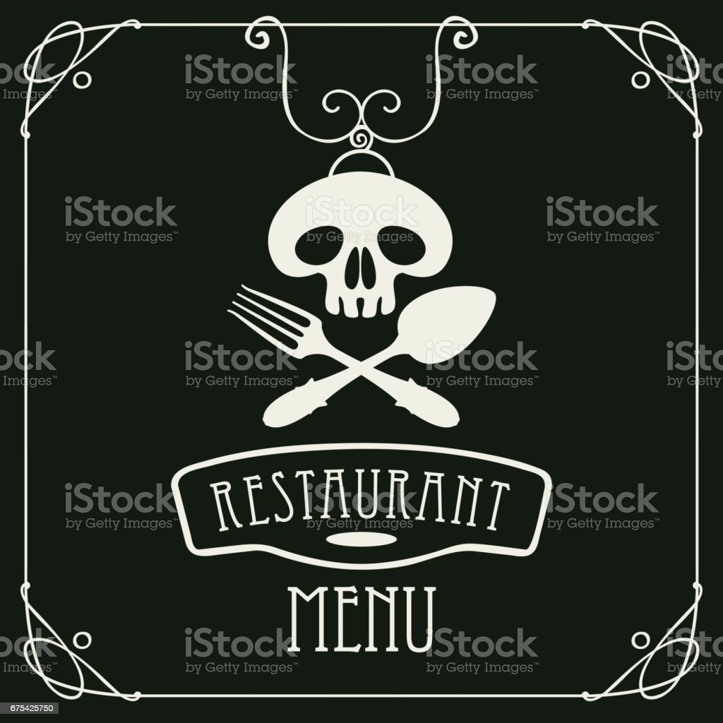bir kaşık ve çatal ile insan kafatası ile menü royalty-free bir kaşık ve çatal ile insan kafatası ile menü stok vektör sanatı & akşam yemeği'nin daha fazla görseli