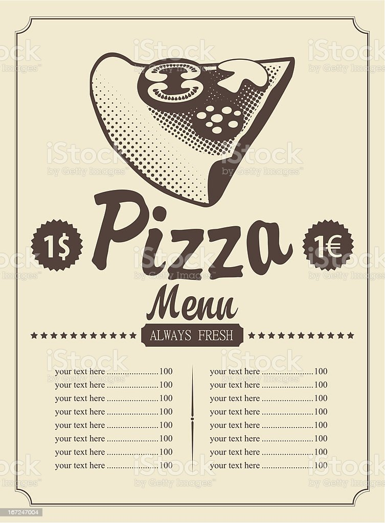 Menu with pizza royalty-free stock vector art