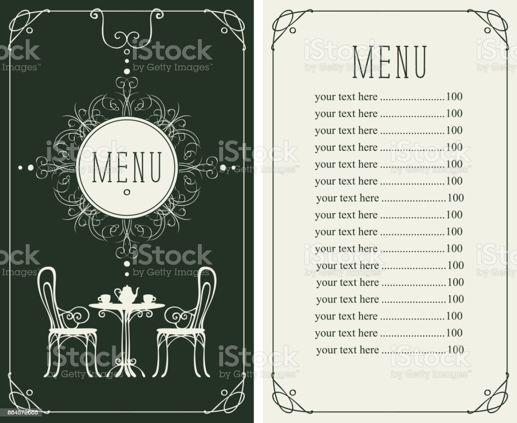 menu with price, image of served table and chairs