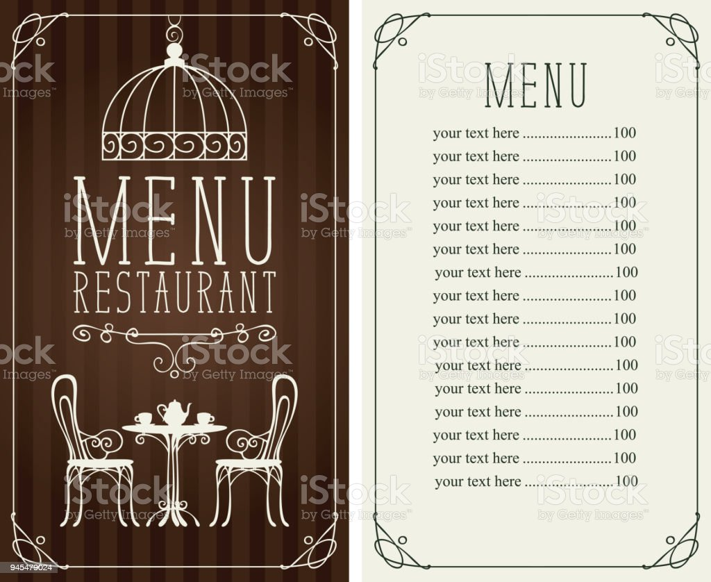 Menu With Price Image Of Served Table And Chairs Stock Vector Art - Table 24 menu