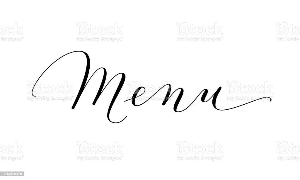 Mot De Menu Manuscrite Personnalisée Calligraphie Isolée Sur Blanc
