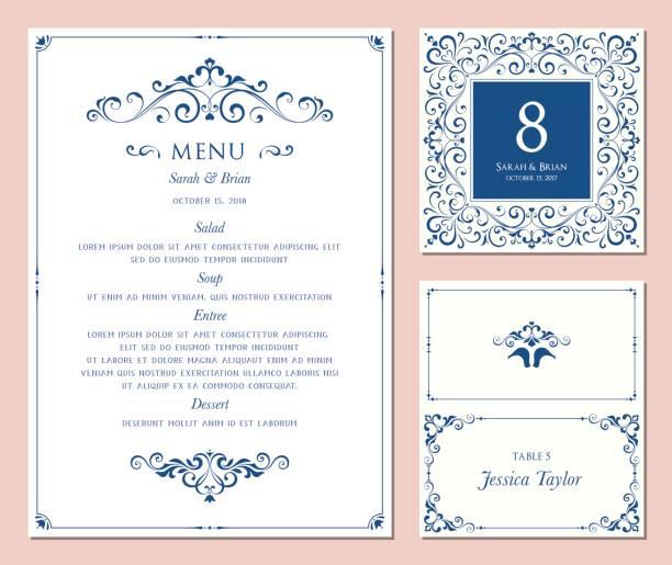 ilustraciones, imágenes clip art, dibujos animados e iconos de stock de menu_set_01 - diseños de bodas