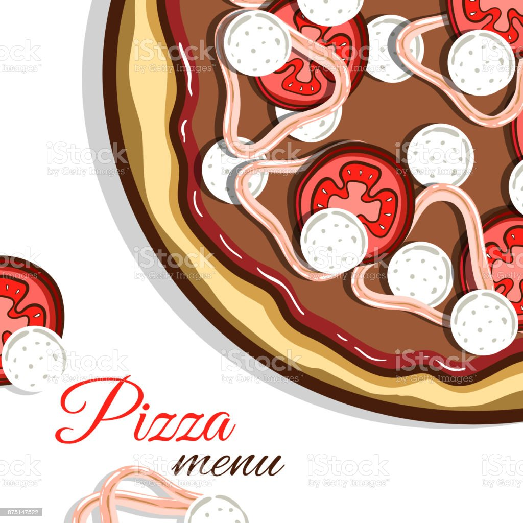 Menu_With_Pizza_And_Anchovy vector art illustration