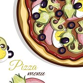 Template of menu with hand drawn pizza for pizzeria or cafe. Vector illustration