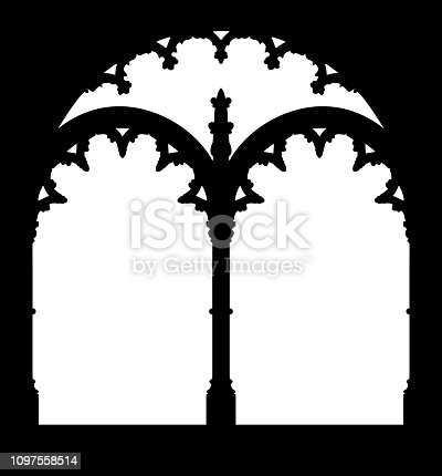 Silhouette of gallery window. Jeronimos Monastery, landmark of Lisbon, Portugal.