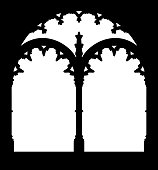 Silhouette of gallery window. Jeronimos Monastery, landmark of Lisbon, Portugal.