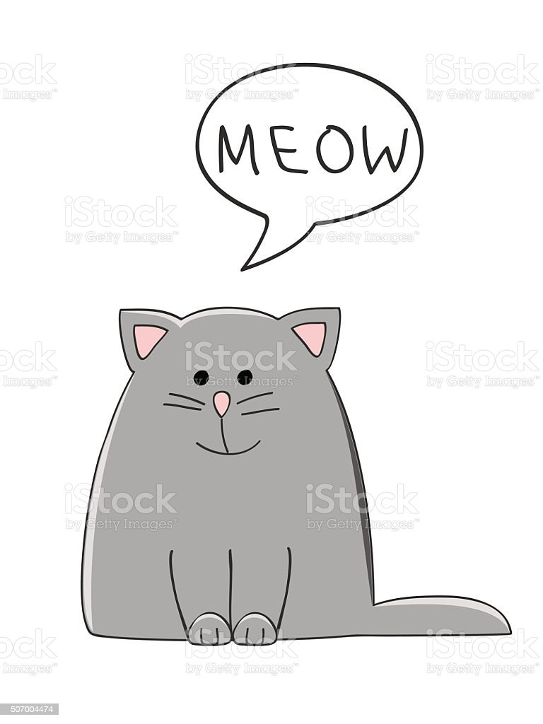 meow cat vector art illustration
