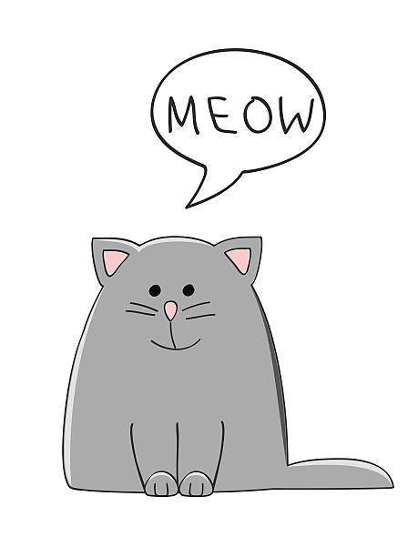 stockillustraties, clipart, cartoons en iconen met meow cat - miauwen
