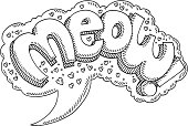 Hand-drawn vector drawing of a Meow! Comic Text in a Speech Bubble. Black-and-White sketch on a transparent background (.eps-file). Included files are EPS (v10) and Hi-Res JPG.