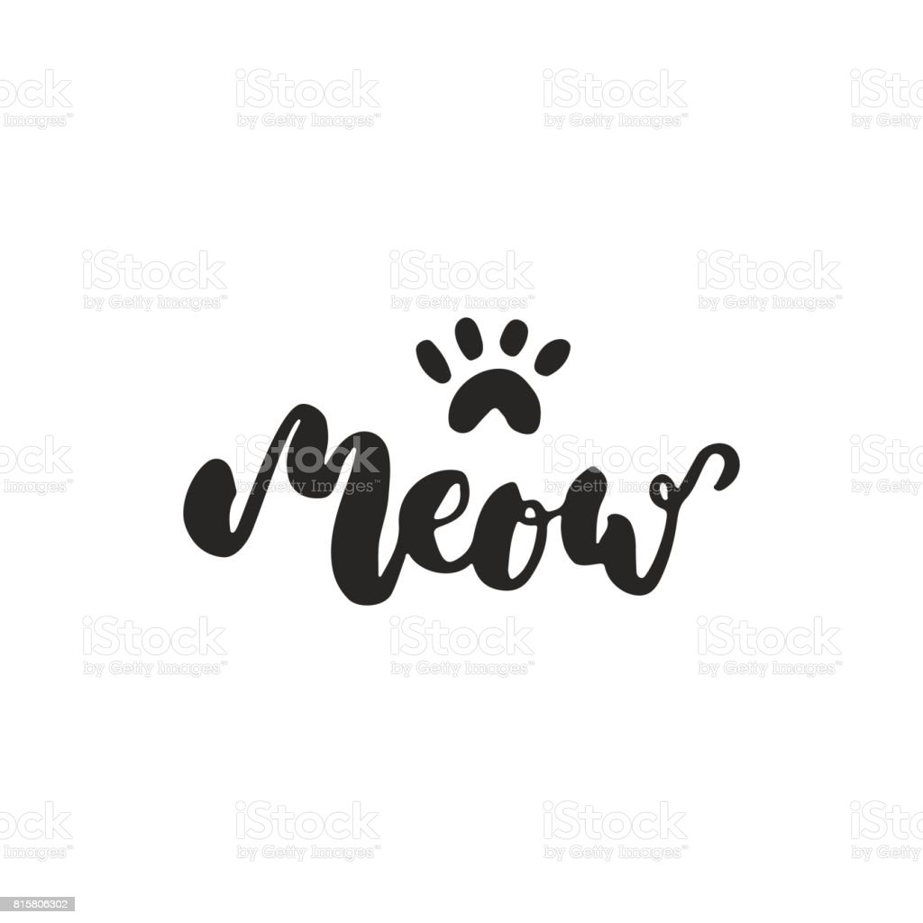 Meow Hand Drawn Dancing Lettering Quote Isolated On The White