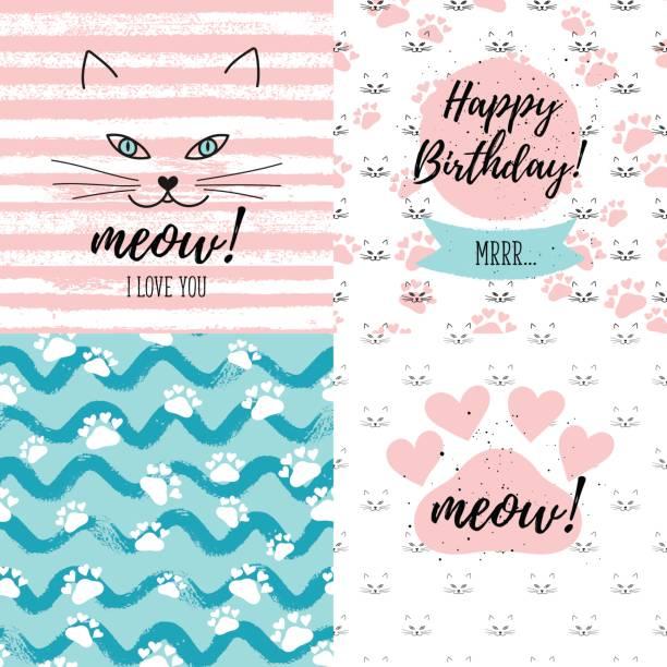 stockillustraties, clipart, cartoons en iconen met meow! ik hou van u, gelukkige verjaardag mrrr mode afbeelding afdrukken, wenskaarten set. hand belettering op abstracte geschilderde achtergronden vector. - miauwen