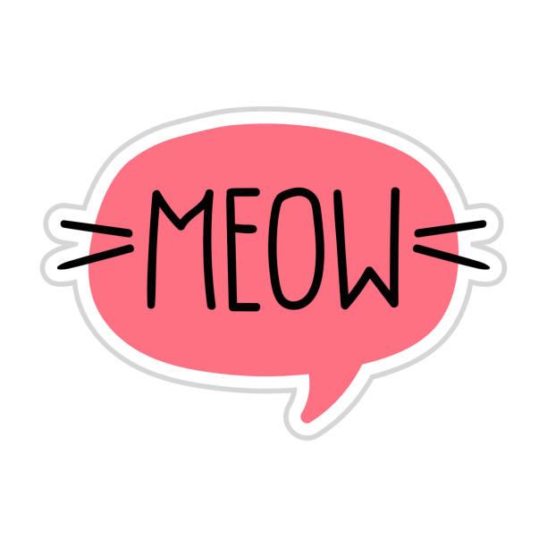 stockillustraties, clipart, cartoons en iconen met miauw. vector belettering doodle, pictogram, toespraak bubble illustratie op witte achtergrond. - miauwen
