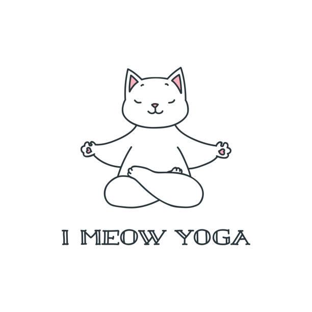 stockillustraties, clipart, cartoons en iconen met ik miauw yoga - miauwen