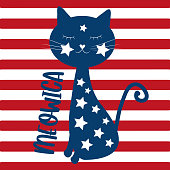 Meowica- cute cat- Happy Independence Day, 4th of July design illustration. Good for advertising, poster, announcement, invitation, party concept.