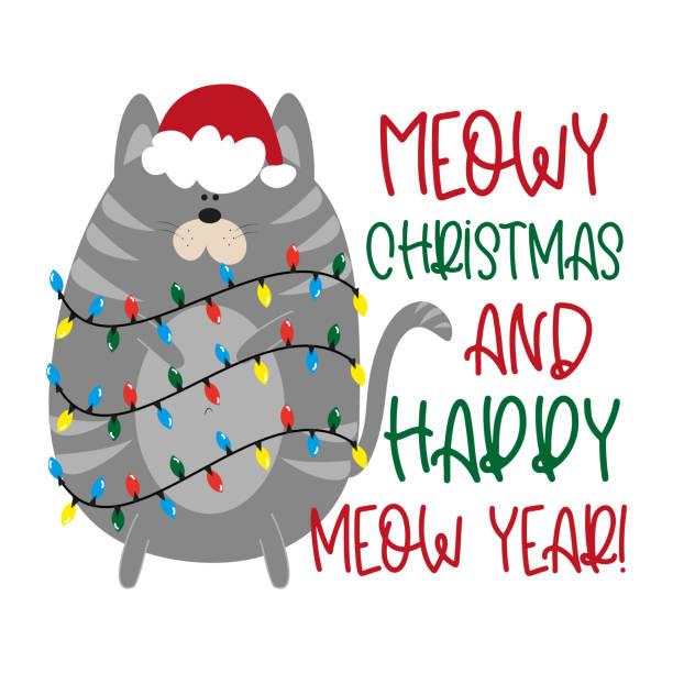 stockillustraties, clipart, cartoons en iconen met miauw kerst en happy meow jaar! - grappige kerstgroet met schattige kat in de dop van de kerstman. - miauwen